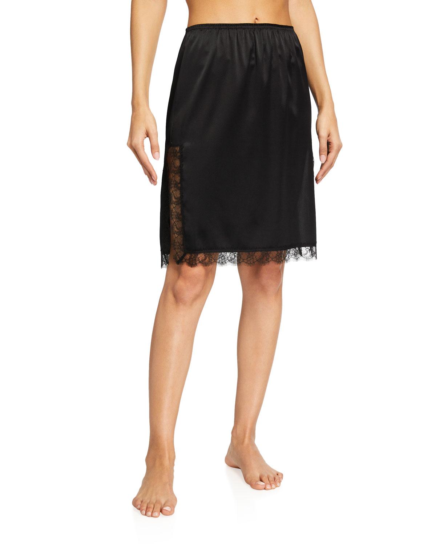 Lace-Inset Satin Slip Skirt