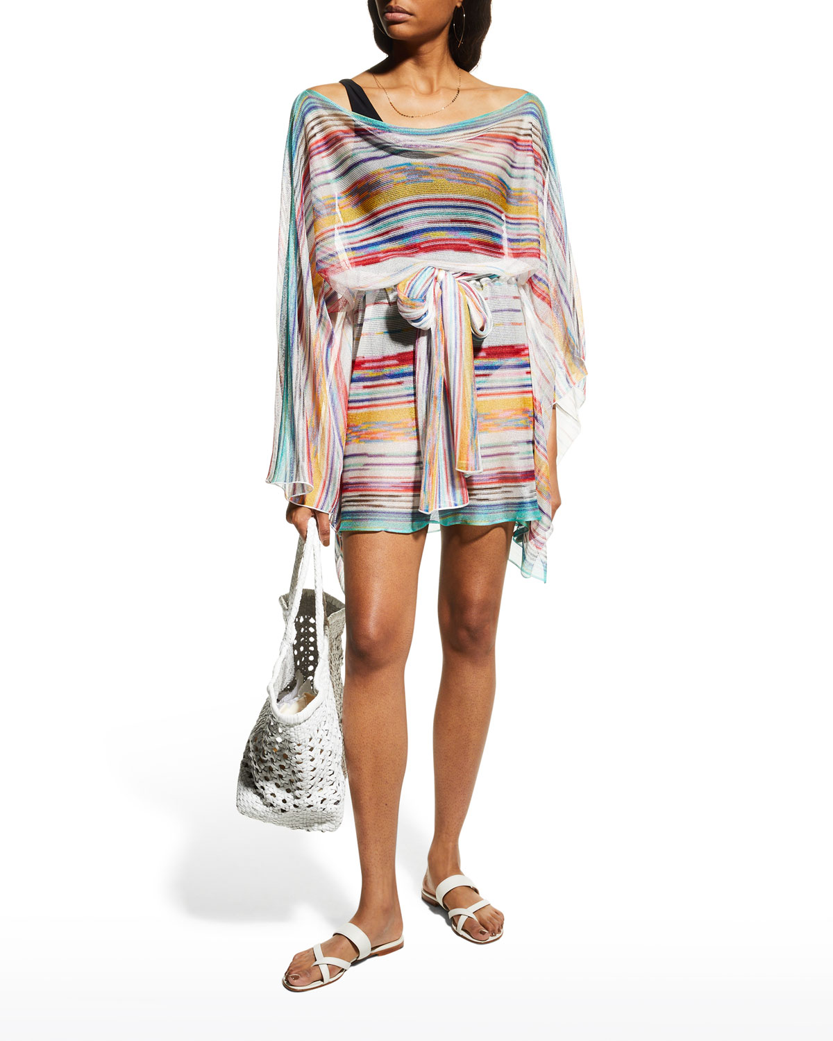 Short Striped Beach Cover-Up