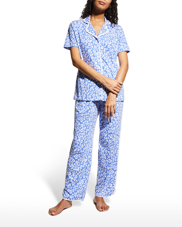 Leopard-Print Short-Sleeve Pajama Set