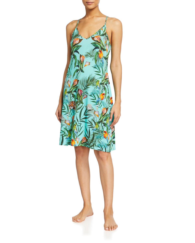 Tropical-Print Slip Dress