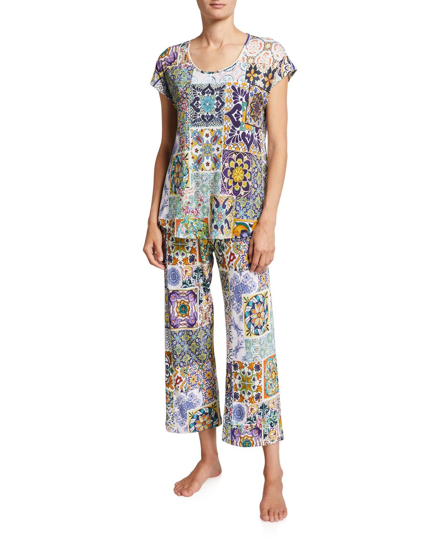 Mosaic Tile-Print Cap-Sleeve Cropped Pajama Set