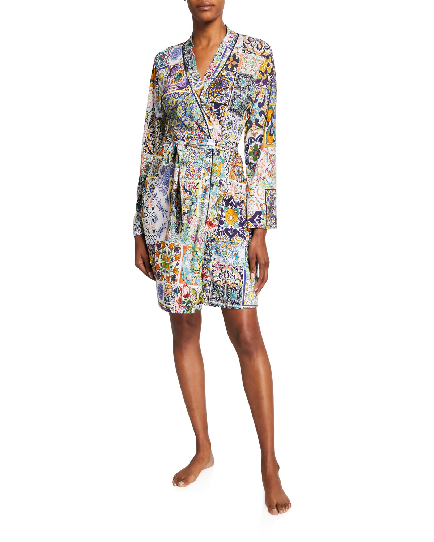 Mosaic Tile-Print Sleep Robe