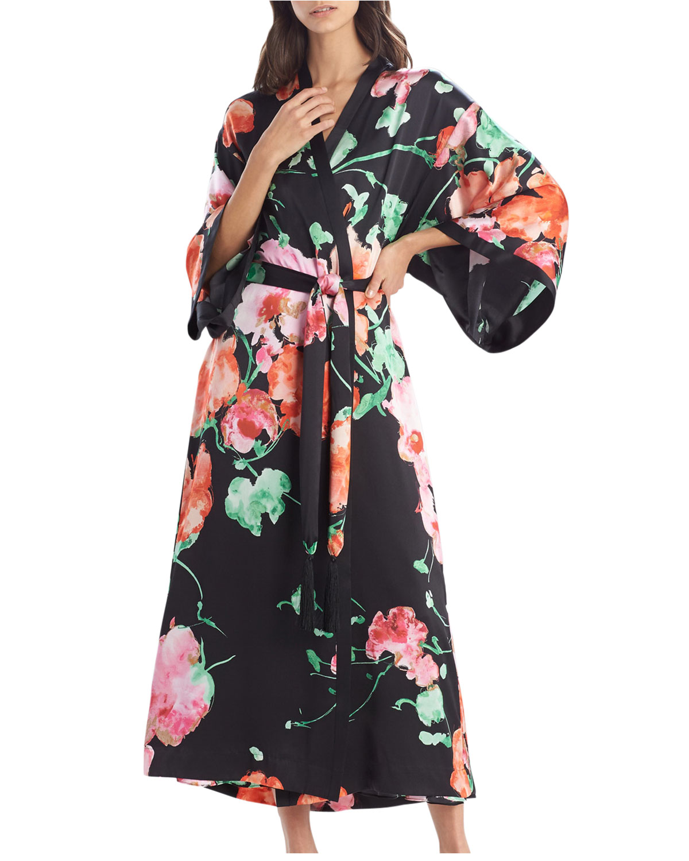 Peony Blossoms Silk Robe