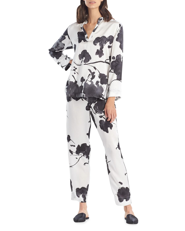 Peony Blossoms Silk Pajama Set