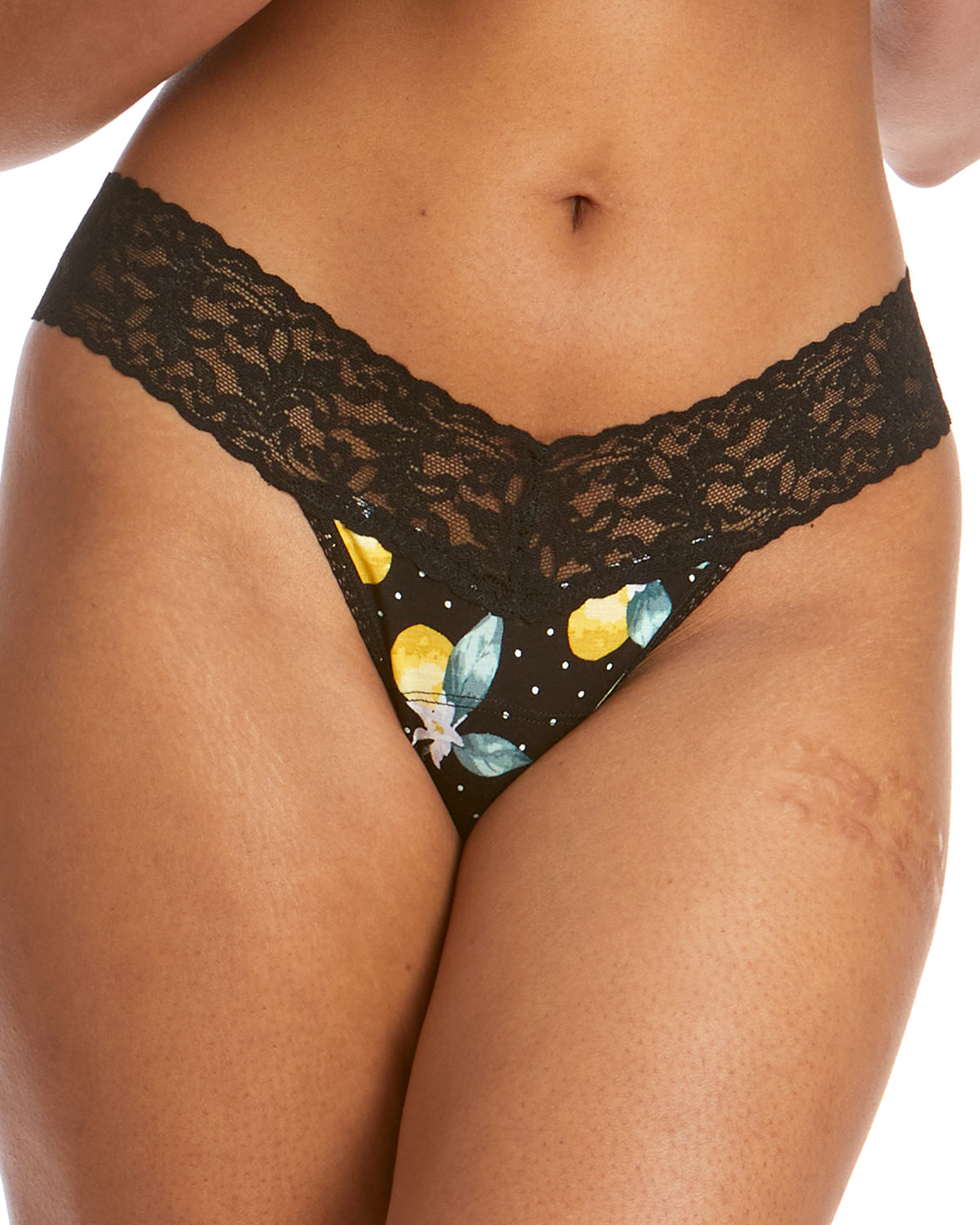 Low-Rise Lace-Trim Jersey Thong