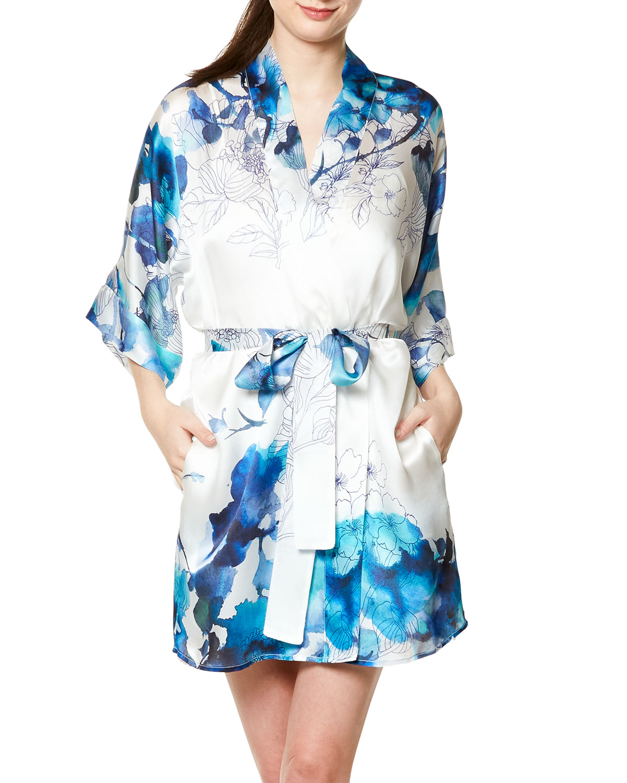 Blue Hawaii Short Silk Robe