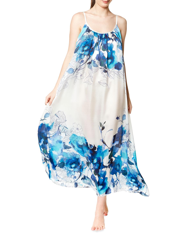 Blue Hawaii Silk Charmeuse Nightgown