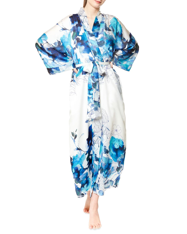 Blue Hawaii Long Silk Robe