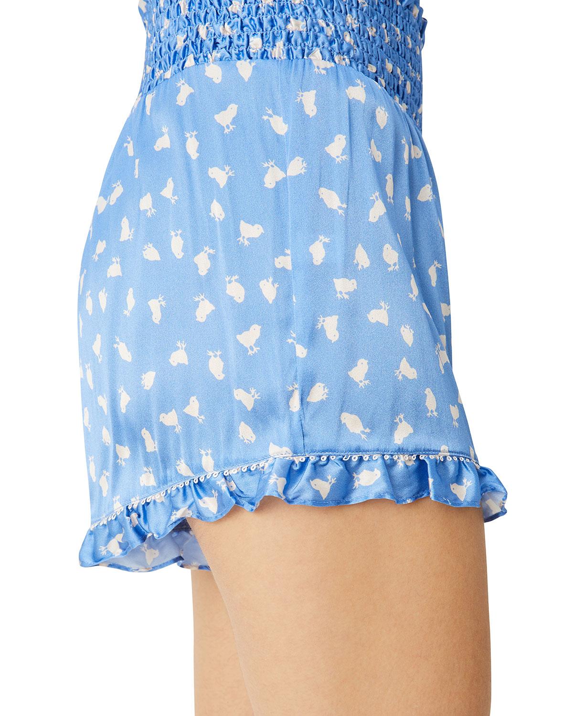 Marta Smocked-Waist Charmeuse Shorts