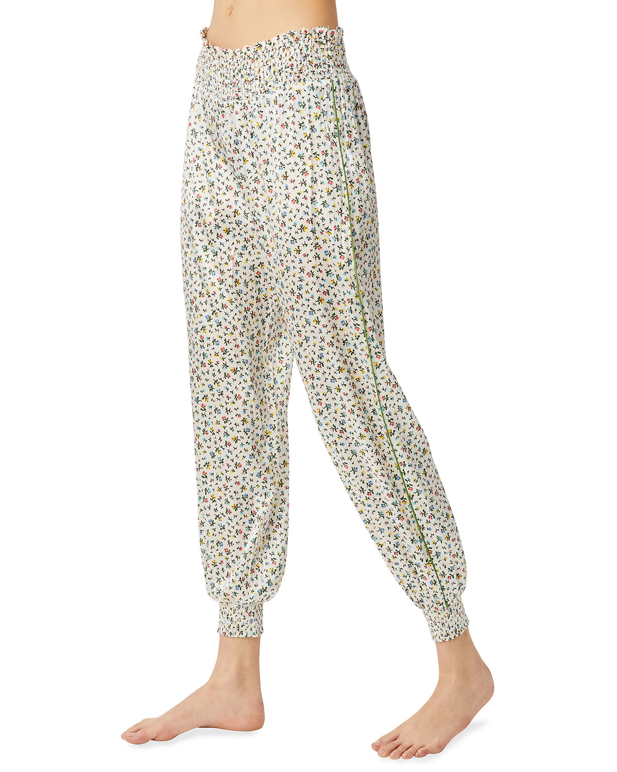 Camille Floral Smocked-Waist Pants