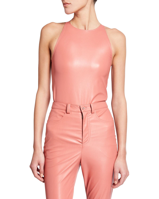 Faux-Leather Halter Bodysuit