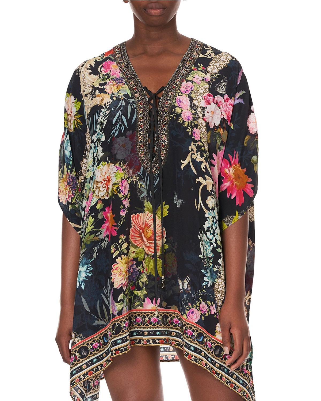 Short Floral Coverup Lace-Up Kaftan