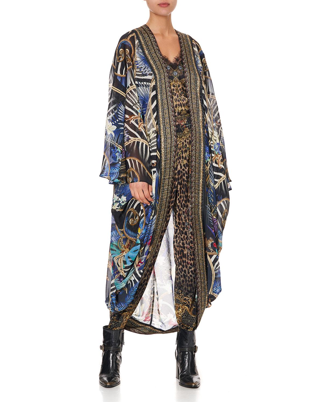 Long-Sleeve Silk Cape Kaftan