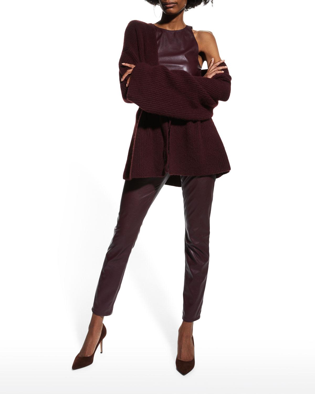 Stretch Faux Leather Halter Bodysuit