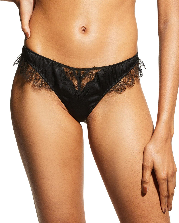 Sensuel Lace-Trim Silk Thong