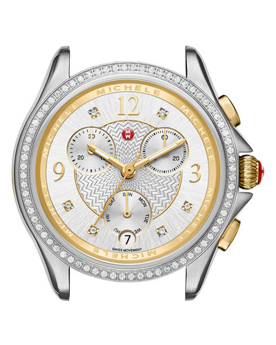 37mm Belmore Watch Head with Diamonds, Silver/Gold