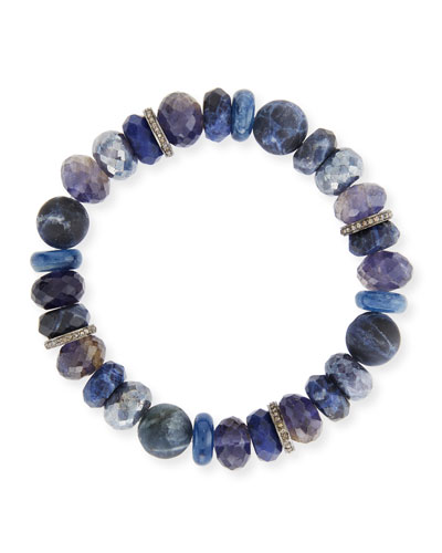 10mm Beaded Bracelet with Diamonds, Blue Mix