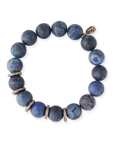 12mm Matte Dumortierite Bracelet with Diamonds