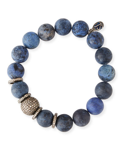 12mm Matte Dumortierite Bracelet with Diamond Bead