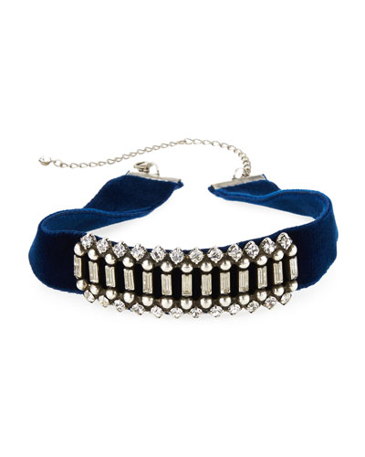 Wren Crystal Velvet Choker Necklace