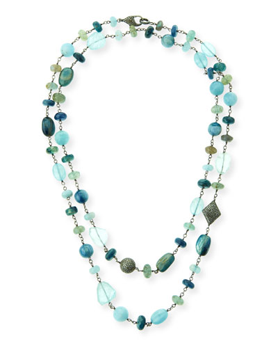 Aquamarine, Kyanite & Labradorite Necklace with Diamonds