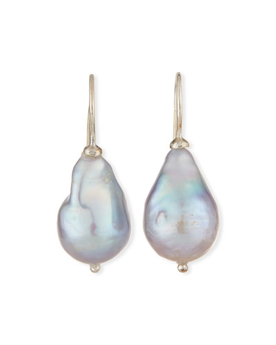 Gray Baroque Pearl Drop Earrings