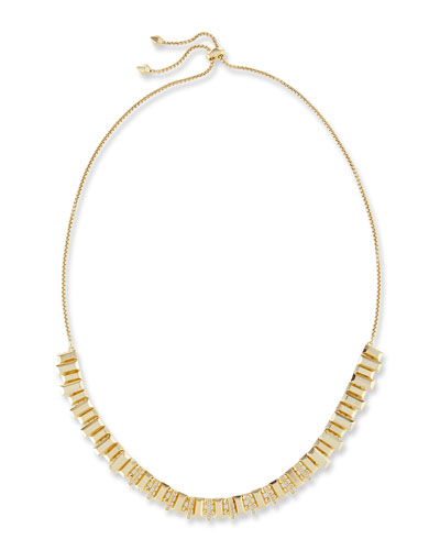 Harper Staggered Collar Necklace, Golden Metallic