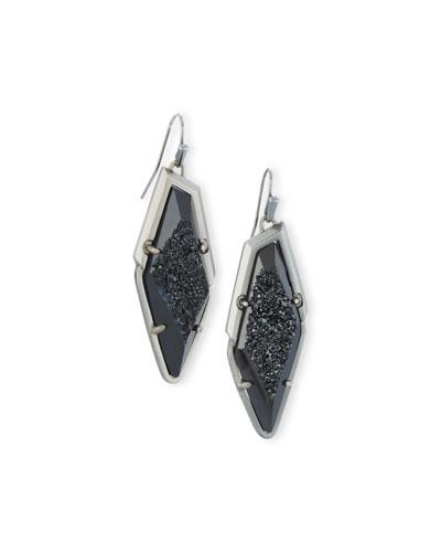 Bex Druzy Statement Earrings, Black Metallic