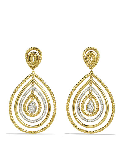Diamond Cable Teardrop Earrings in 18K Gold