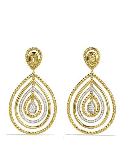 Diamond Cable Teardrop Earrings in 18K Gold