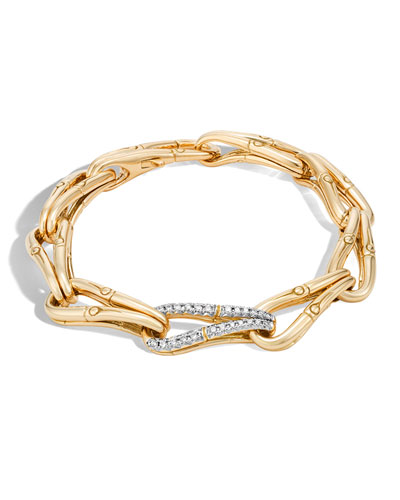 Bamboo 18K Gold Link Bracelet with Diamonds