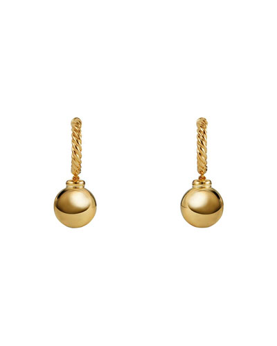 Solari 18k Hoop Earrings w/ Dome Drops