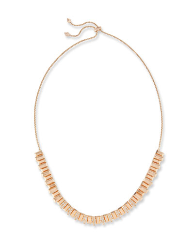 Harper Staggered Collar Necklace, Pink Metallic