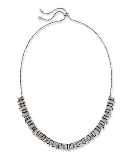 Harper Staggered Collar Necklace, Gray Metallic