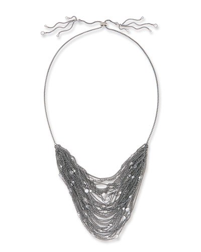 Anastasia Multi-Row Chain Necklace, Gray Metallic
