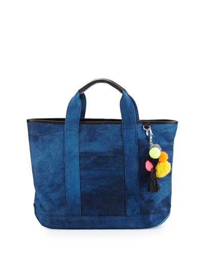 Sofia Canvas Pompom Tote Bag, Blue