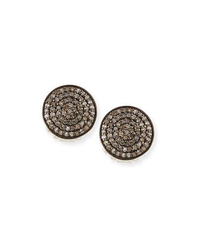 Pave Diamond Disc Stud Earrings