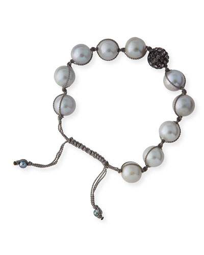 Gray Baroque Pearl Toggle Bracelet