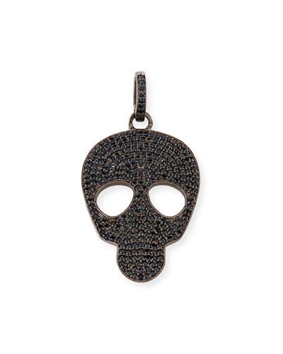 Small Black Spinel Skull Charm