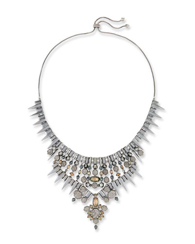 Seraphina Crystal Bib Necklace, Black