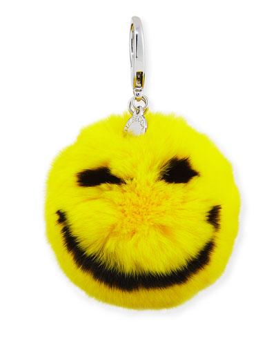 Smile Rabbit-Fur Pompom Bag Charm
