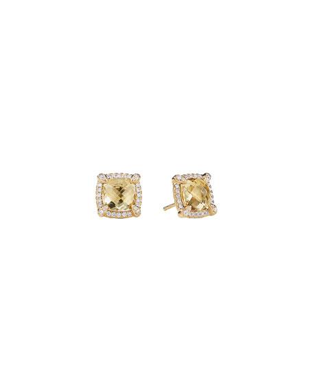 David Yurman Chatelaine 8mm Champagne Citrine & Diamond Earrings