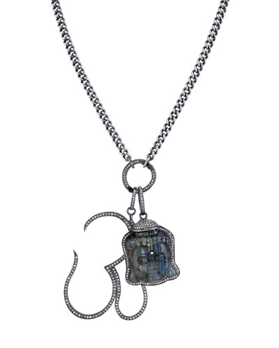 Carved Labradorite Buddha & Diamond Pave Om Pendant Necklace