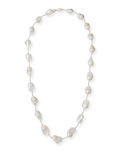 Large Baroque Pearl & Crystal Necklace, 35