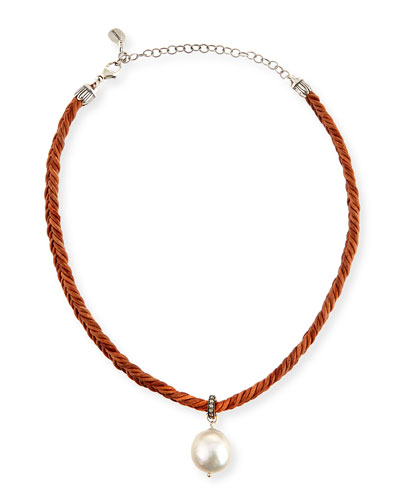 Braided Leather Necklace with Pearl Charm, Brown