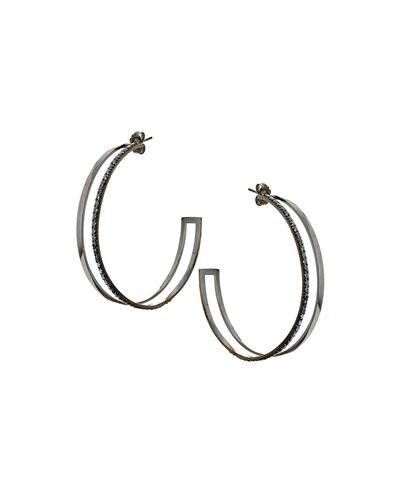 Reckless Dare Black Gold/Diamond Hoop Earrings