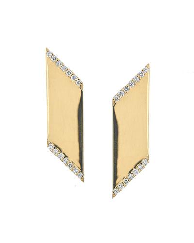 Vanity Expose Angled Earrings with Diamonds