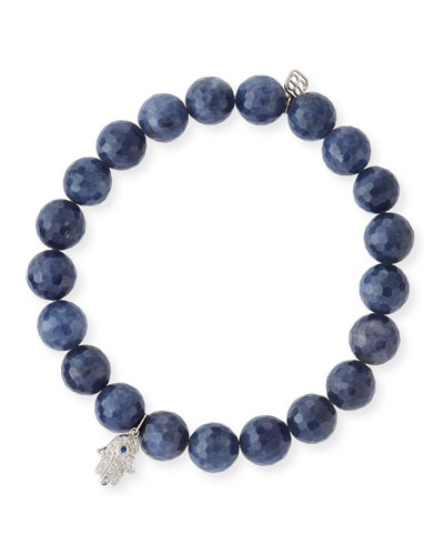 7mm Beaded Indigo Sapphire Bracelet with Diamond Hamsa Charm