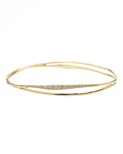 Drizzle Split Pave Diamond Gold Bangle