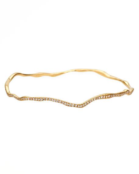 Ippolita Drizzle Thin Wavy Pave Diamond Gold Bangle
